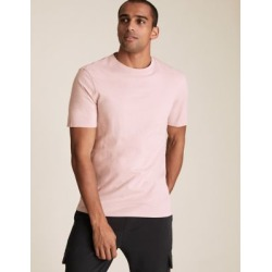 Marks & Spencer Pure Cotton Crew Neck T-Shirt - Pink Shell - US M found on Bargain Bro India from Marks and Spencers - US for $10.50