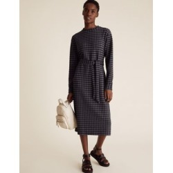 Marks & Spencer Checked Belted Midi Shift Dress - Navy Mix - US 4 found on Bargain Bro India from Marks and Spencers - US for $60.00