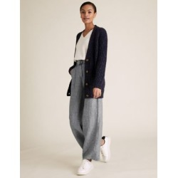 Marks & Spencer Pure Linen Belted Wide Leg Trousers - Light Grey - US 14 found on Bargain Bro India from Marks and Spencers - US for $50.00