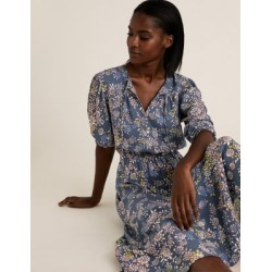 Marks & Spencer Floral Midi Waisted Dress - Navy Mix - US 4 (UK 8) found on MODAPINS from Marks and Spencers - US for USD $69.00