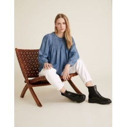 Marks & Spencer Pure Tencel™ Pintuck Long Sleeve Blouse - Blue - US 16 found on Bargain Bro India from Marks and Spencers - US for $50.00
