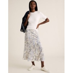 Marks & Spencer Floral Button Front Midi A-Line Skirt - Ivory Mix - US 12 (UK 16) found on MODAPINS from Marks and Spencers - US for USD $50.00