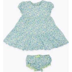 Marks & Spencer 2 Piece Cotton Floral Print Dress (0-3 Yrs) - Blue Mix - 0-3 Months