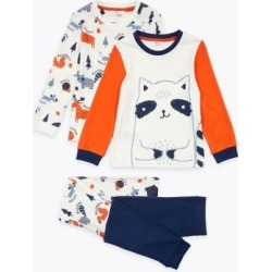 Marks & Spencer 2 Pack Cotton Raccoon Pyjama Sets (1-7 Yrs) - Navy Mix - 12-18 Months found on Bargain Bro India from Marks and Spencers - US for $30.00