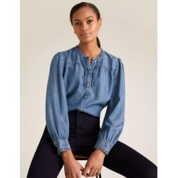 Marks & Spencer Pure Tencel™ Frill Detail Blouse - Blue - US 4 found on Bargain Bro India from Marks and Spencers - US for $60.00