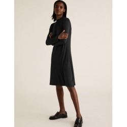 Marks & Spencer Jersey High Neck Knee Length Swing Dress - Black - US 12 (UK 16) found on MODAPINS from Marks and Spencers - US for USD $32.50