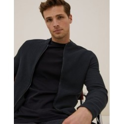 Marks & Spencer Cotton Modal Textured Knitted Bomber - Navy - US S found on Bargain Bro Philippines from Marks and Spencers - US for $69.00
