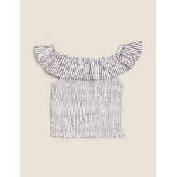 Marks & Spencer Pure Cotton Striped Seersucker Frill Top (6-16 Years) - Black Mix - 7-8 Years found on Bargain Bro from Marks and Spencers - US for USD $21.28