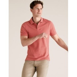 Marks & Spencer Slim Fit Pure Cotton Pique Polo Shirt - Brick - US L found on Bargain Bro India from Marks and Spencers - US for $26.00