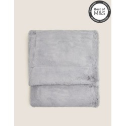Marks & Spencer Supersoft Faux Fur Throw - Silver Grey - Small (L55 inch x W31cm)