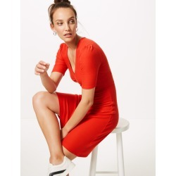 Textured Half Sleeve Tea Dress red found on MODAPINS from Marks and Spencers - US for USD $5.00