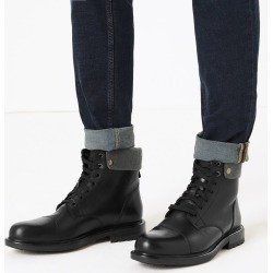 Leather Felt Collar Toe Cap Casual Boots
