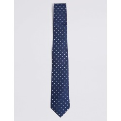 Pure Silk Spotted Tie & Pocket Square Set navy mix