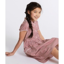 Girls' Classic Summer Striped Dress red
