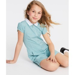 Checked Pure Cotton Playsuit (2-14 Years) green