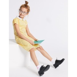 Gingham Pleated Dress (2-14 Years) yellow