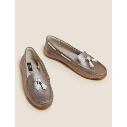 Leather Boat Shoes metallic