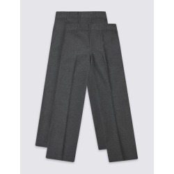2 Pack Boys' Easy Dressing Trousers grey