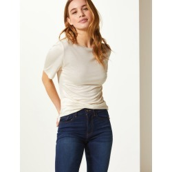 PETITE Round Neck Short Sleeve T-Shirt ivory found on MODAPINS from Marks and Spencers - US for USD $17.00