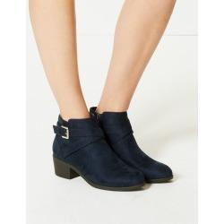 Block Heel Side Buckle Ankle Boots