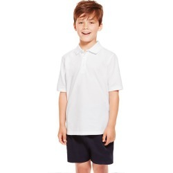 2 Pack Boys' Pure Cotton Polo Shirts white
