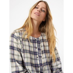 Cotton Rich Pintuck Checked Pioneer Blouse