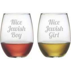Susquehanna Glass Nice Jewish Boy/Girl Set of Two 21oz Glasses