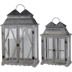 A&B Home Set of 2 Silver Scape Lanterns Set of 2 Silver Scape Lanterns