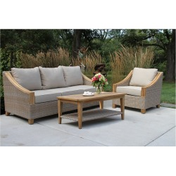 Outdoor Interiors Ash Wicker & Teak 3pc Sofa Set
