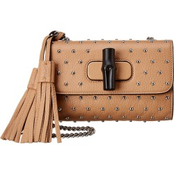 Gucci Leather Studded Bamboo Daily Bag