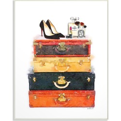 Stupell Luggage Stack Shoes And Makeup by Amanda Greenwood