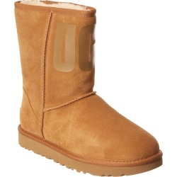UGG Classic Short Rubber Logo Suede Boot found on Bargain Bro from Gilt for USD $109.43