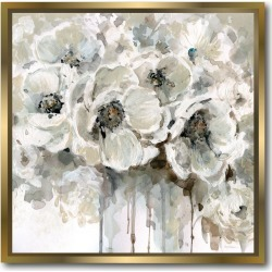 Courtside Market Wall Decor Black & White Flower Gallery Framed Stretched Canvas Wall Art