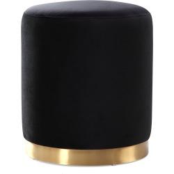 TOV Opal Black Velvet Ottoman -Gold Base