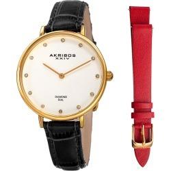 Akribos XXIV Women's Diamond Leather Watch