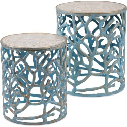 Imax Worldwide Home Set of 2 Coral Mother of Pearl Tables