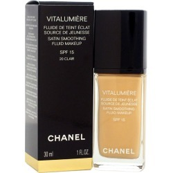 Chanel 1oz Vitalumiere Satin Smoothing Fluid Makeup #20 Clair found on Bargain Bro Philippines from Ruelala for $53.99