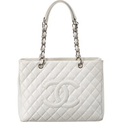 Chanel White Quilted Caviar Leather Grand Shopping Tote