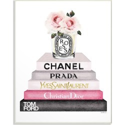 Stupell Book Stack Fashion Candle Pink Rose by Amanda Greenwood found on Bargain Bro India from Gilt City for $25.99