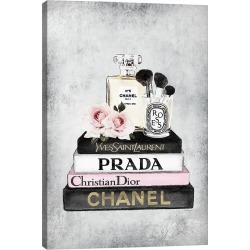 iCanvas Books Of Fashion, Pink, Makeup Set, Grey Grunge by Amanda Greenwood Wall Art found on Bargain Bro Philippines from Gilt for $79.99
