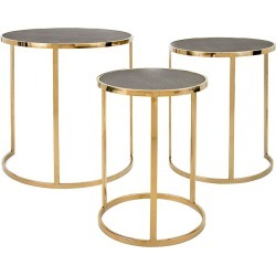 Imax Worldwide Home Set of 3 Marek Stainless Steel Tables