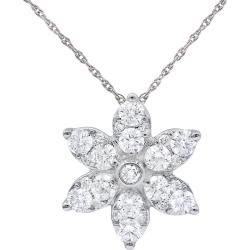 Diana M. Fine Jewelry 14K 1.00 ct. tw. Diamond Flower Necklace