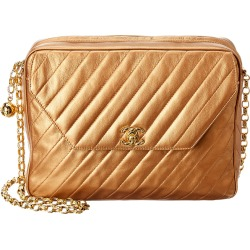 Chanel Gold Quilted Lambskin Leather Large Diagonal Camera Bag found on Bargain Bro India from Gilt City for $2750.00