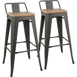 Lumisource Set of 2 Oregon Low Back Barstools