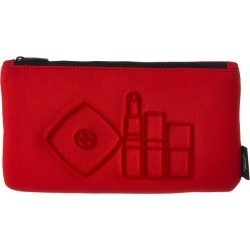Chanel Black-Tone & Red Flocked Cosmetic Bag