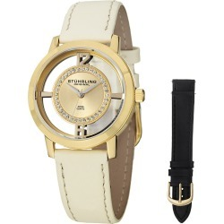 Stuhrling Women's Vogue Genuine Leather Interchangeable Strap Watch
