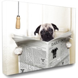 Stupell Industries Pug Reading Newspaper in Bathroom found on Bargain Bro Philippines from Ruelala for $49.99