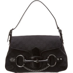 Gucci Black GG Canvas & Leather Horsebit Shoulder Bag found on MODAPINS from Gilt for USD $650.00