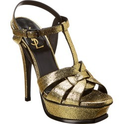Saint Laurent Tribute 105 Metallic Leather Sandal found on Bargain Bro India from Gilt City for $549.99