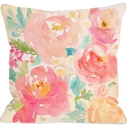 One Bella Casa Popping Peonies Outdoor Pillow
